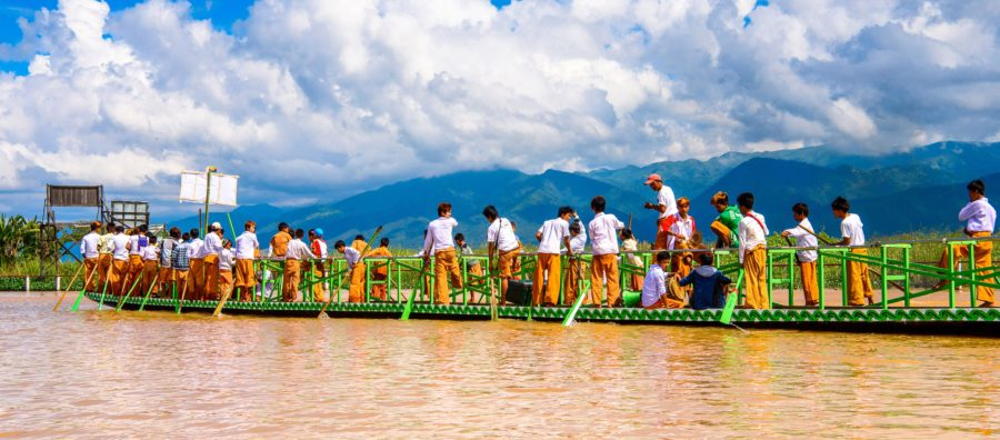 Boat Racing in Inle Lake